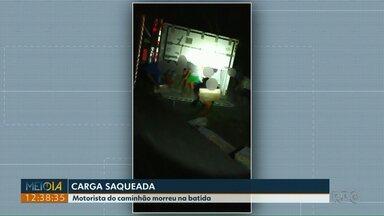 Motorista de caminhão morre em acidente na BR-277, em Nova Laranjeiras - O caminhão estava carregado com carne de frango. A carga foi saqueada.