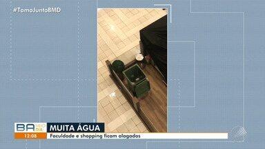 Shopping e faculdade ficam alagados após chuva em Salvador - Parte do teto do shopping caiu com a chuva.
