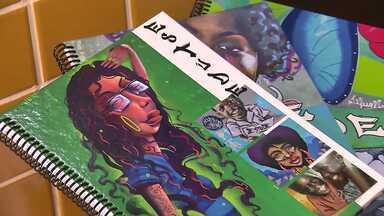 Grafites espalhados pelo bairro vão parar em cadernos de estudantes no Vista Bela - Arte e educação transformando juntas a vida das pessoas.