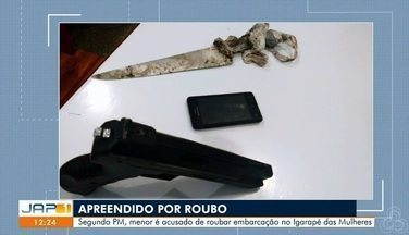 Vendedor de açaí é esfaqueado no rosto e tem celular roubado em assalto a embarcação no AP - Foi apreendido um adolescente de 17 anos acusado de participar do roubo.
