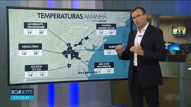 Sexta-feira (22) deve ser o dia mais frio da semana - No sábado (23) o sol volta a aparecer em Curitiba e nas praias.