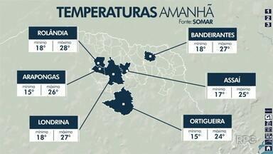 Tempo instável em Londrina nos próximos dias - Não deve vir chuva volumosa, mas o tempo fica fechado