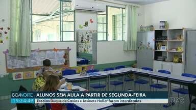 Alunos de duas escolas municipais de Foz do Iguaçu ficam sem aulas a partir de segunda - Prefeitura acatou decisão judicial que pediu a interdição das escolas Duque de Caxias e Josinete Holler. Ministério Público Federal denunciou que as instituições de ensino apresentam riscos na estrutura, e de incêndio.
