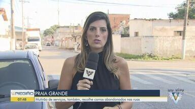 Praia Grande realiza mutirão de serviços no município - Dentre os serviços realizados, há o recolhimento de carros abandonados.