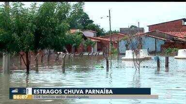 104 famílias estão desabrigadas em Parnaíba devido a chuva - 104 famílias estão desabrigadas em Parnaíba devido a chuva