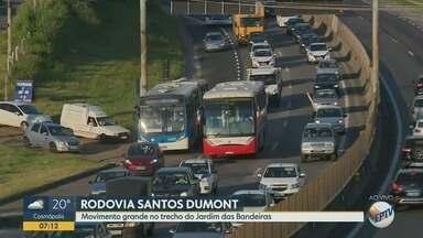 Rodovia Santos Dumont tem trânsito intenso no trecho do Jardim das Bandeiras, em Campinas - Veja como está o fluxo de veículos na região na manhã desta terça-feira (26).