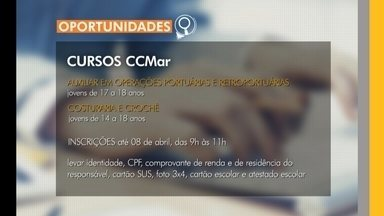Estão abertas as inscrições para cursos gratuitos no CCMAR - As inscrições vão até dia 5 de abril.