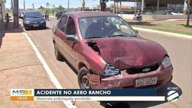 Motorista embriagado causa acidente no Aero Rancho - Ele mesmo avisou a dona do veículo atingido.