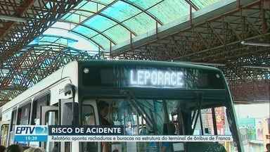 Relatório emitido há 2 anos alerta para risco de queda em terminal de ônibus em Franca, SP - Observatório Social do Brasil (OSB) diz que telhado pode desabado a qualquer momento.