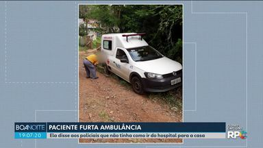 Paciente rouba ambulância para ir pra casa, em Ponta Grossa - A mulher estava internada no hospital e disse à polícia que não tinha como ir embora.