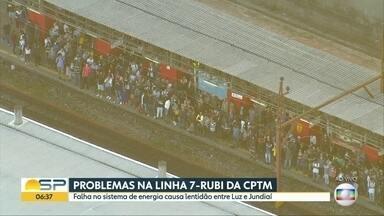 Falha na linha Rubi da CPTM faz trens circularem com velocidade reduzida - Problema no abastecimento de energia causa lentidão entre estações Luz e Jundiaí nesta manhã.