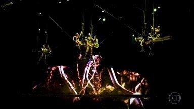 """Cirque du Soleil está em turnê pelo Brasil com o espetáculo """"OVO"""" - No Cirque du Soleil, que está em turnê pelo Brasil, escaravelhos se exibem, esbanjam técnica e coragem no espetáculo de saltos e acrobacias."""