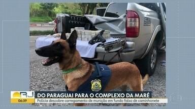 Carregamento de munição é apreendido - Material foi encontrado com uso de cães farejadores em caminhonete na BR-040, em Três Rios. As mais de 3 mil balas e uma arma iriam pra Maré.