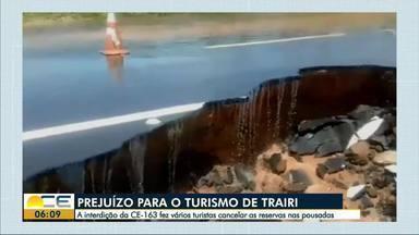 Estragos da chuva atrapalham o turismo em Trairi - A interdição da CE-163 faz turistas cancelarem as reservas nas pousadas.