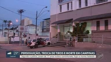 Troca de tiros com a polícia deixa suspeito de 17 anos morto, em Campinas - Segundo a polícia, jovem de 17 anos roubou caminhonete, fugiu e morreu baleado.