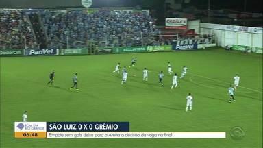 Grêmio fica no 0 x 0 em partida contra o São Luiz na semifinal do Gauchão - Inauguração é marcada por solenidade que deve começar às 13h00.