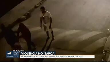 Câmera registra homem sendo espancado durante assalto no Itapoã - Vítima levou uma facada no braço durante a agressão e caiu no chão. Ele foi atendido no Hospital do Paranoá e está fora de perigo. Até agora, ninguém foi preso.