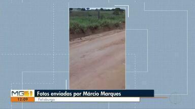 VC no MG:Morador de Felizburgo reclama da falta de infraestrutura de rodovia - A estrada está toda esburacada.