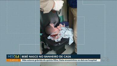 Bebê nasce no banheiro de casa em Santa Terezinha do Itaipu - Mãe estava grávida do quinto filho. A criança e a mãe estão bem, segundo os Bombeiros.