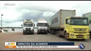 Aumenta procura por balsas em Belém, após queda da ponte da Alça Viária - Balsas saem a todo momento, mas fila de caminhões e ônibus de viagens são constantes nos portos de Belém.