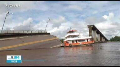 Queda de ponte no Pará dificulta entrada e saída de Belém - Pessoas doentes em ônibus, cargas períciveis com risco de estragar e falta de previsão para travessia de balsa foram problemas que marcaram esta segunda, 8.