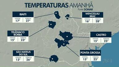 Tempo fica seco e sol predomina na região dos Campos Gerais - Confira a previsão do tempo.