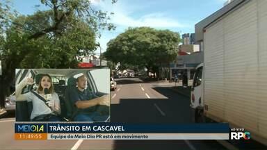 Equipe percorre as ruas de Cascavel pra mostrar como está o trânsito na cidade - A equipe passou pelas ruas do centro da cidade.