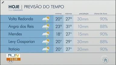 Tempo instável aumenta nebulosidade e chance de chuva no Sul do Rio - Temperaturas ficam mais amenas na região. Volta Redonda emite alerta de estado de emergência.