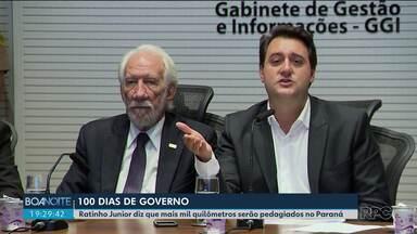 Governador diz que mais mil quilômetros de rodovias serão pedagiados no estado - Ratinho Junior fez um balanço dos cem primeiros dias de governo.