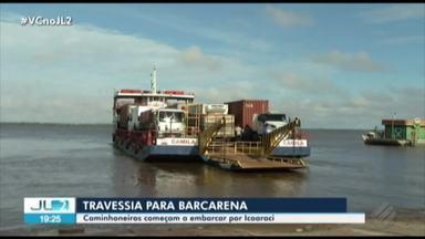 Caminhoneiros começam a fazer travessia para Barcarena em balsas do porto de Icoaraci - A medida foi tomada pelo governo do estado para desafogar o trânsito na avenida Bernardo Sayão.