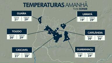 Mesmo com previsão de chuva temperaturas seguem altas no oeste do estado - Em Toledo a máxima pode chegar aos 29.