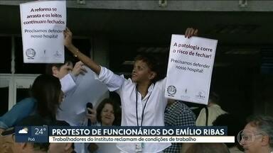 Funcionários do Instituto Emílio Ribas protestam - Trabalhadores querem melhores condições de trabalho e reclamam da estrutura