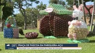 Praça no Vale do Ribeira é decorada com material reciclado na Páscoa - Local fica em Pariquera-Açu e o material reciclado foi doado pelos alunos das escolas da cidade.