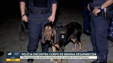 Polícia encontra corpo de garota desaparecida em Mongaguá - Corpo de menina de 6 anos estava em córrego e foi achado com auxílio de cães farejadores da Polícia. Um suspeito está preso.