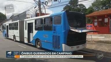 Campinas tem uma quebra de ônibus a cada 2.322 km rodados - De acordo com o órgão, obras do BRT e condições precárias do asfalto agravam o problema.
