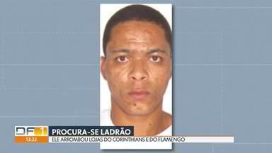 Polícia identifica ladrão que roubou lojas de times - A polícia procura o ladrão que arrombou as lojas do Corinthians e do Flamengo na Asa Sul. Ele foi identificado pelas imagens das câmeras de segurança.