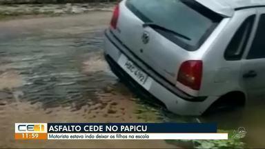 Asfalto cede e carro cai no Papicu - Confira outras notícias no g1.com.br/ce