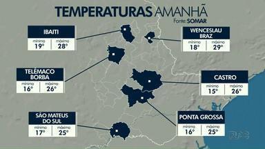 Instabilidade diminui, temperaturas sobem e tempo abre na região dos Campos Gerais - Confira a previsão do tempo.