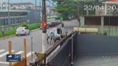 Ladrões usam uniformes de técnicos da Sabesp para roubar família em São Vicente - Câmeras de monitoramento flagraram parte da ação dos criminosos.