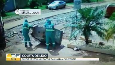 Moradores de Vicente Pires reclamam da coleta de lixo em contêineres - Eles fizeram vídeos que mostram garis recolhendo o lixo e virando os recipientes de cabeça para baixo.