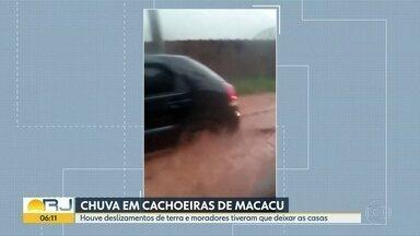 Estrago em Cachoeiras de Macacu - Chuva causou deslizamentos de terrra e alagamentos. Moradores tiveram que sair de casa.