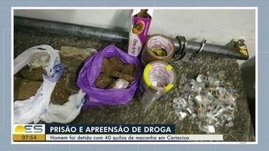 Jovem de 21 anos é preso com 40 kg de maconha em Cariacica, ES - Droga estava distribuída em três sacolas cheias.