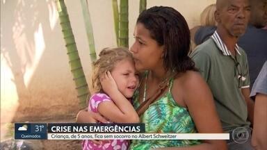 Pacientes esperam 7 horas por atendimento no Albert Schweitzer - A emergência está superlotada. Uma criança, de 5 anos, com muita dor no ouvido não foi atendida. A mãe disse que não recepção foi orientada a procurar outro hospital.