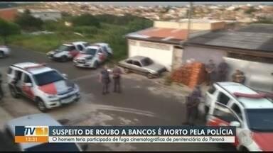 Suspeito de roubo a bancos é morto pela Polícia Militar em Monte Mor - Na casa do homem foram encontrados explosivos e um fuzil. De acordo com a Polícia, ele teria fugido de penitenciária no Paraná.