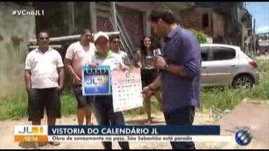 Calendário JL vai a passagem São Sebastião, na Maracangalha - Obra de saneamento na rua está parada
