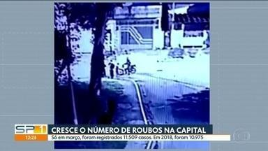 Cresce o número de roubos em São Paulo - O número de roubos na Capital aumentou no mês de março em relação ao mesmo mês do ano passado. Os dados são da Secretaria de Segurança Pública de São Paulo.