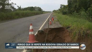 Cratera ameaça pista no trecho entre São Pedro e Santa Maria da Serra - Trecho da Rodovia Geraldo de Barros ameaça motoristas.