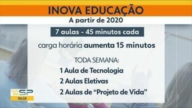 7 aulas de 45 minutos por dia nas escolas estaduais - O novo projeto de educação foi anunciado pelo governo do Estado.