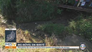 MG Móvel acompanha situação dos moradores da rua Jair Ferreira Diniz, em Ibirité - Quarta vez que nossa equipe acompanha pedido dos moradores por canalização de córrego.