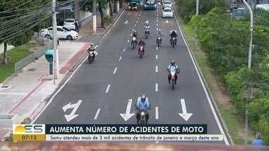 Samu atende mais de 3 mil acidentes de trânsito de janeiro a março deste ano no ES - A maioria dos acidentes envolveu motocicletas.